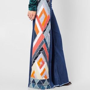 NWT Free People Stick By Your Side Patch Wide-Leg